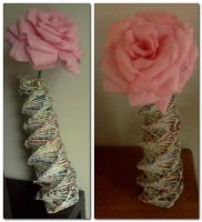 Large size rose and newspaper rolled sticks vase by staceysmile
