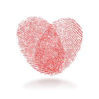 red fingerprint heart shape by mqworks