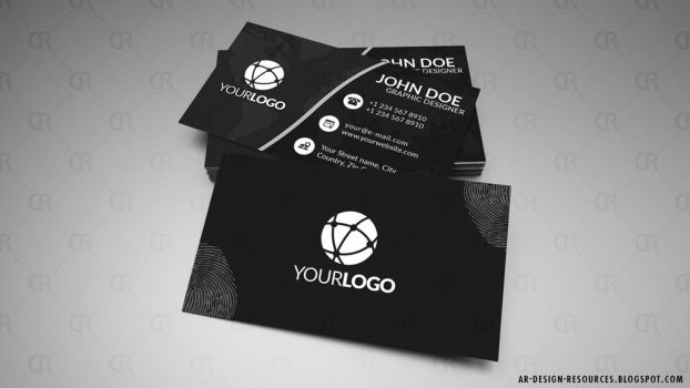 Stylish Black Business Card by FakeFebruary