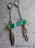 Stones and Feather earrings by IdolRebel