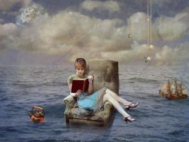 My bookworm is over the ocean by Q-Rai
