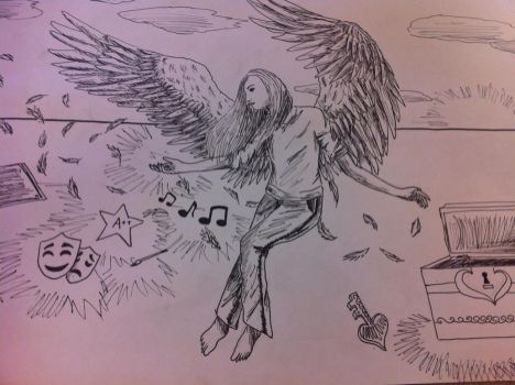 Winged Angel Lineart by hannahs98
