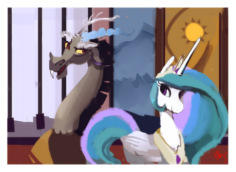 Picture of discord and celestia by Alumx