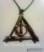 Deathly Hallows wood and copper pendant by Inspirement