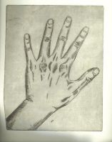 hand, cupper etching by bellls
