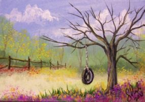ACEO The Old Tire Swing by annieoakley64
