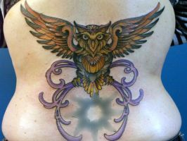 owl tattoo by mojoncio
