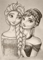 Frozen: Elsa and Anna, for Mir by Cassandra-Borealis