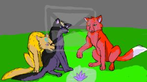 Three wolves in a cave by Xenessyi