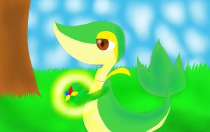 Draw Me a Pokemon:  Snivy and Starf Berry by YukiraHanou