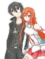 Asuna and Kirito (Valentine's draw 2016) by Hahc3Shadow
