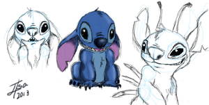 Stitch sketches by BakaMeganekko