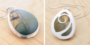 Picasso Jasper Reversible Pendant by metalsmitten