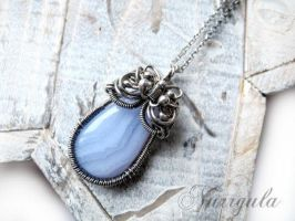 The Air. Hand made Silver necklace with Blue Agate by nurrgula