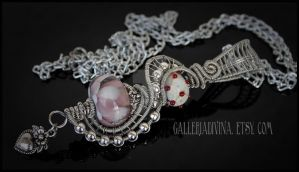 Pink petals - Wire wrapped pendant by Faeriedivine