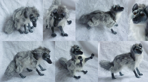 Silver grey wolf doll by goiku
