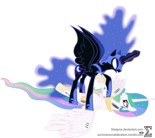 Princess Celestia and Nightmare Moon Fighting by 90Sigma