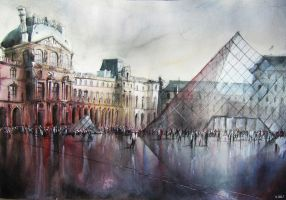 Le Louvre - Paris - Watercolor by nicolasjolly