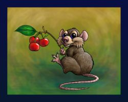 cute mouse with berries by smashy-bone