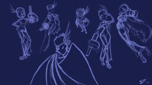 Skullgirls: Black Dahlia Sketches by southpawper