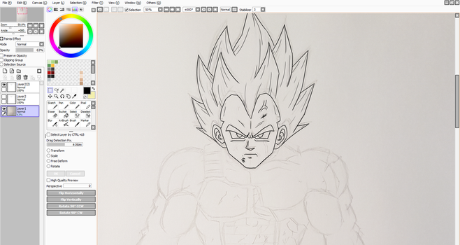 Super Vegeta WIP 2 by ChibiBardock