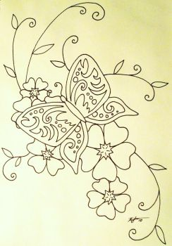 simple Butterfly and Blossoms by zurakaruzeKSL