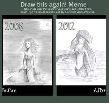Draw This Again Meme: Mermaid by Lioranzia