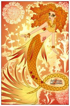 Neptune's Daughter ~ Sunfire Mermaid by MiniatureBlueOwl