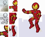 Fan Art - Iron Man In Action Stages by iAmAneleBiscarra