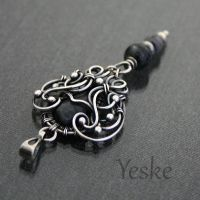 Meridia | Wire-work pendant with larvikite by YeskeCrafts