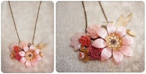 Hummingbird Garden Necklace by GingerKellyStudio