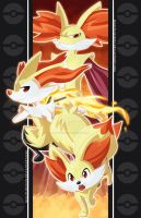 Fennekin Family by NightLokison