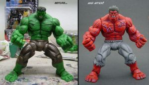 Red Hulk Before and After by Jin-Saotome