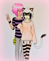 YandaXMomo - Kawaii Cat-Couple by AdrianXDalin