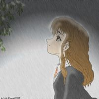 Hermione in the rain by EliRiddle