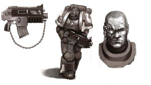 Space Marine Sketches by FonteArt