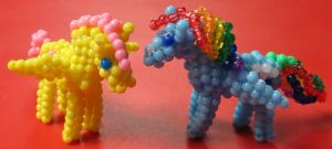Beaded My Little Pony Fluttershy and Rainbow Dash by Anabiyeni
