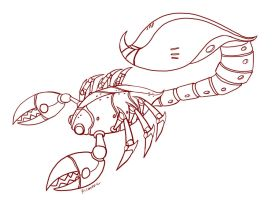 mecha scorpion lineart by puffychin by richard-chin