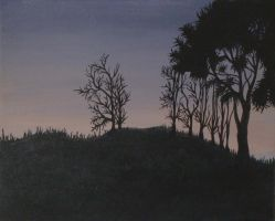 Hill Silhouette At Dusk by Serpent3
