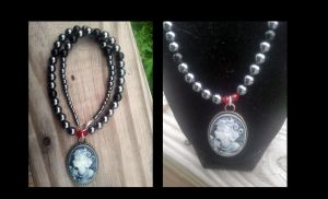 Hematite and Onyx Cameo necklace by WyckedDreamsDesigns