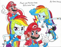 Mario and Rainbow Dash Poster by AngelMaria89