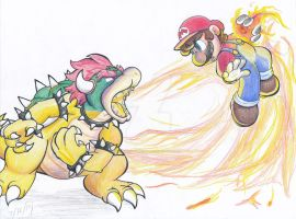 Mario vs Bowser by Creation7X24