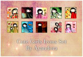 Cute Girls Icons Set by Ayandora