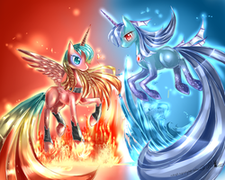 MLP: fire and water gift for JigokuShi13 by AquaGalaxy