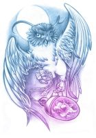 Cosmic Owl Tattoo Desing by AbrahamGart