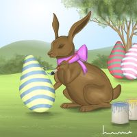 Chocolate Bunny Paints his Eggs by Louisetheanimator