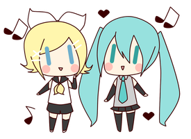 [Vocaloid] Rin and Miku by TsunaUsui10