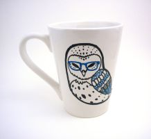 Bespectacled Barn Owl Mug by mini-britt