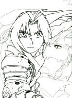 Ed Elric FMA pen and pencil by RedandblackShadow