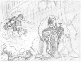 superman vs batman pencils by belgerles